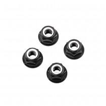 M5 Black Aluminum Flange Lock Nut (set of 4)