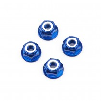 M6 Blue Aluminum Flange Lock Nut (set of 4)