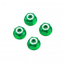 M6 Green Aluminum Flange Lock Nut (set of 4)