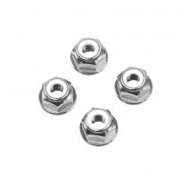 M6 Silver Aluminum Flange Lock Nut (set of 4)