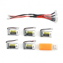 Eachine 260MAH 45C Lipo Battery And USB Charger for E010, E010C, E011, E011C, E013 (5 Pcs)