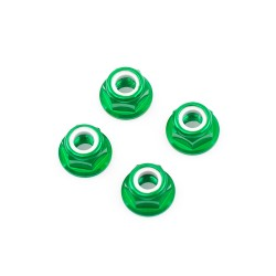 M5 Green Aluminum Flange Lock Nut (set of 4)
