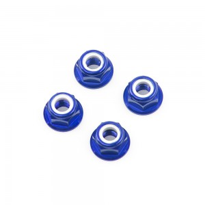 M5 Blue Aluminum Flange Lock Nut (set of 4)