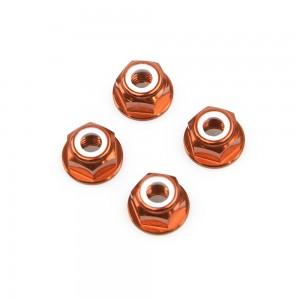 M6 Orange Aluminum Flange Lock Nut (set of 4)