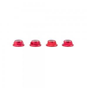 Lumenier M5 Red Aluminum Low Profile Lock Nut (set of 4 CCW)
