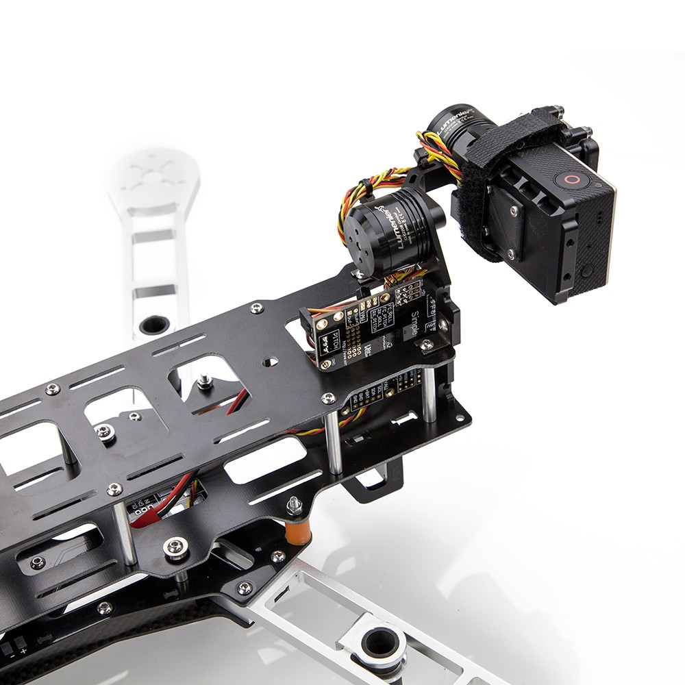 Shown with the optional QAV Quick-Mount 2 Axis Gimbal, Board Camera Mount, and Carbon Fiber landing gear.