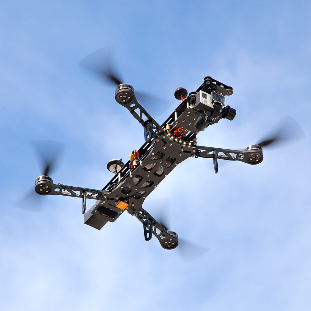The QAV500 flying with a 3-Axis Gimbal.